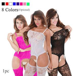 Women-Fishnet-Babydoll-Sexy-Crotchless-Bodysuit-Lingerie-Underwear-Bodystocking