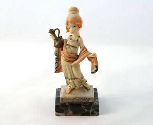 Vintage-DEPOSE-Figure-ITALY-444-Young-Girl-with-Ewer-Vase-Marble-Base-Roman