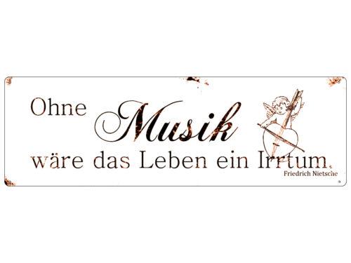 Shabby Blechschild METALLSCHILD Dekoschild OHNE MUSIK Geschenk Musiker Zitat