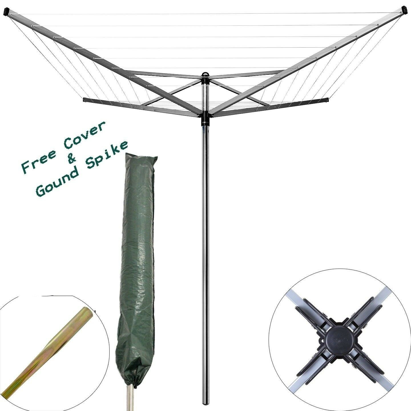 4 Arm Rotary Garden Washing Line Clothes Airer Dryer