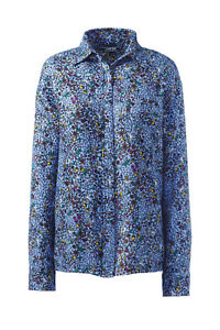 Lands-039-End-NWT-Women-039-s-Plus-Size-Brushed-Rayon-Collared-Shirt-Blue-Floral-MSR-60