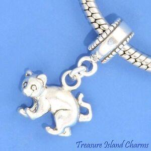 Kitty Cat Kitten .925 Solid Sterling Silver European Dangle Bead Charm euro