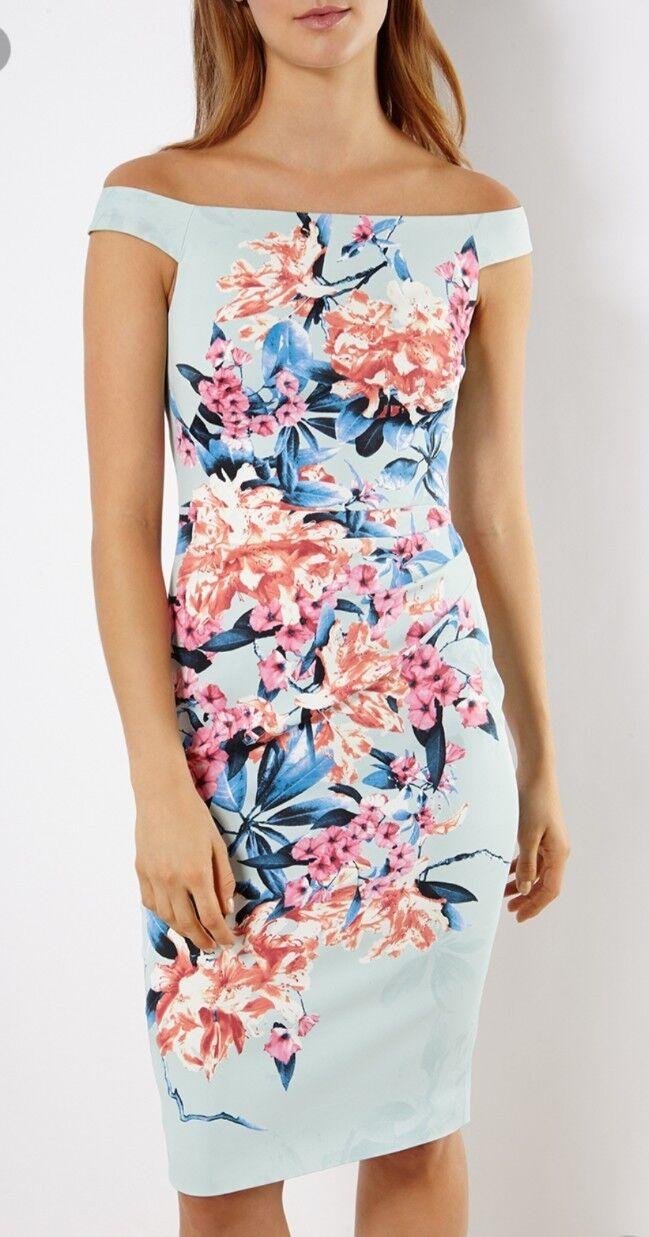 Karen Millen dress wiggle floral print Blau bodycon Größe 8