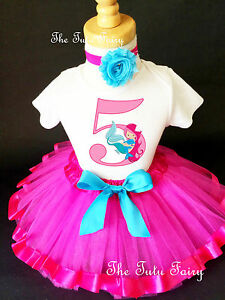 Details About Mermaid Pink Blue Girl 5th Birthday Tutu Outfit Shirt Set Party Dress