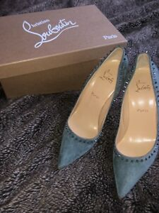 3c103abf607 Image is loading Christian-Louboutin-Anjalina-100-Veau-Velours-Heels-In-