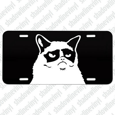 GRUMPY CAT Metal License Plate Meme Decal Sticker Funny Angry Cat Lover Lady Mom