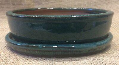 16cm Green Glazed Oval Bonsai Pot