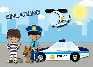 Schön Das Bild Wird Geladen 8 Einladungskarten Polizei Geburtstag Kinder  Kindergeburtstag Einladungen Jungen