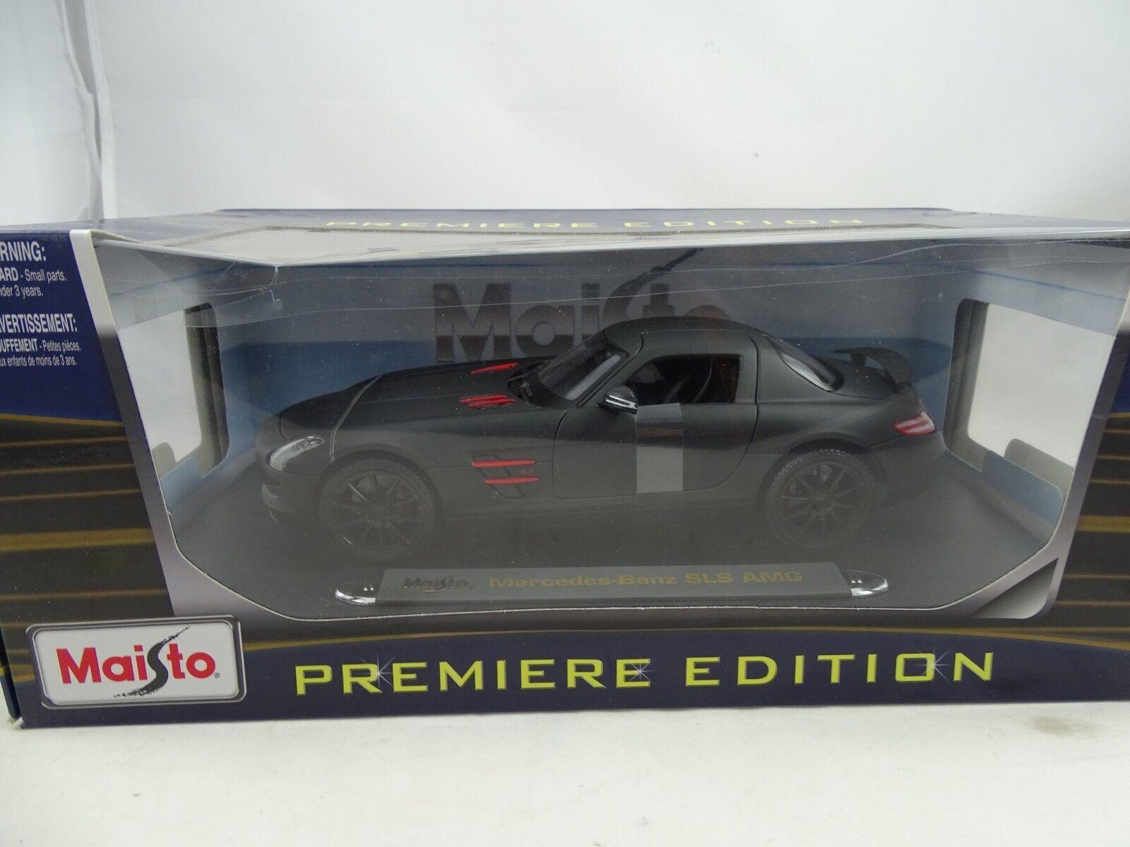 muy popular 1 18 Maisto Premier Edición  36196 Mercedes-Benz Mercedes-Benz Mercedes-Benz SLS AMG Negro Mate - Rareza    tienda de pescado para la venta