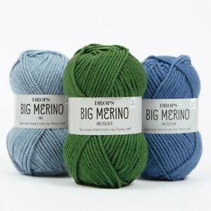 DROPS-100-MERINO-ARAN-YARN-BIG-MERINO-SUPERWASH-LUXURY-KNITTING-WOOL-50G