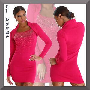 Caricamento dell immagine in corso vestito-donna-mini-abito -corto-taglio-bolero-strass- d7dd680ae96