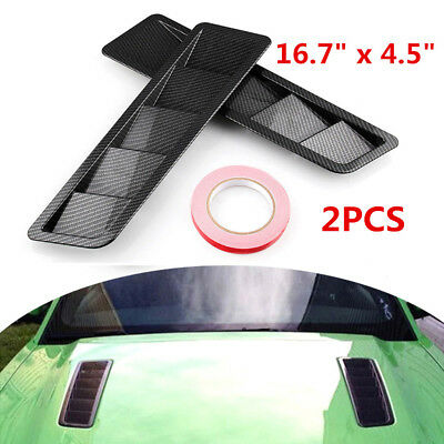 2X Universal Carbon Fiber Hood Vents Louver Cooling Panel Trim ABS Plastic Solid