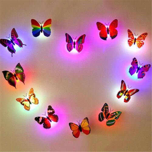 3D Butterfly LEDNight Light Art Design Decal Wall Sticker Home Mural Room Decors