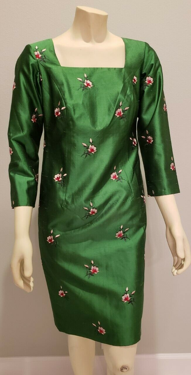 Emerald green silk shantung embroidered wiggle dress M