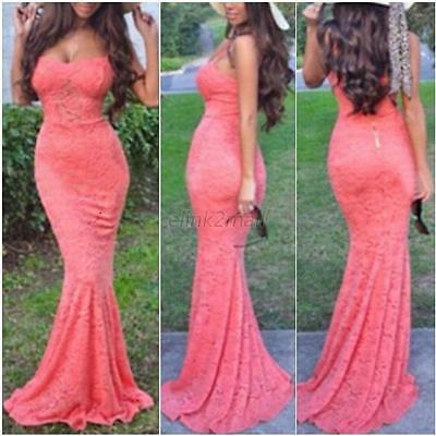 Sexy Women Lace Mermaid Dresses Bodycon Prom Party Evening Gown Long Dresses E21