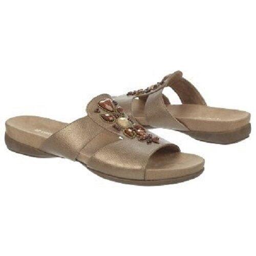 New  Naturalizer Nickel Gold Alda Stone Embellished Sandals Comfort Slide Sandals Embellished 7 10 baf712