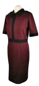 M-amp-S-Size-12-Burgundy-Red-Black-Short-Sleeve-Collared-Fit-Flare-Dress-Office-Work
