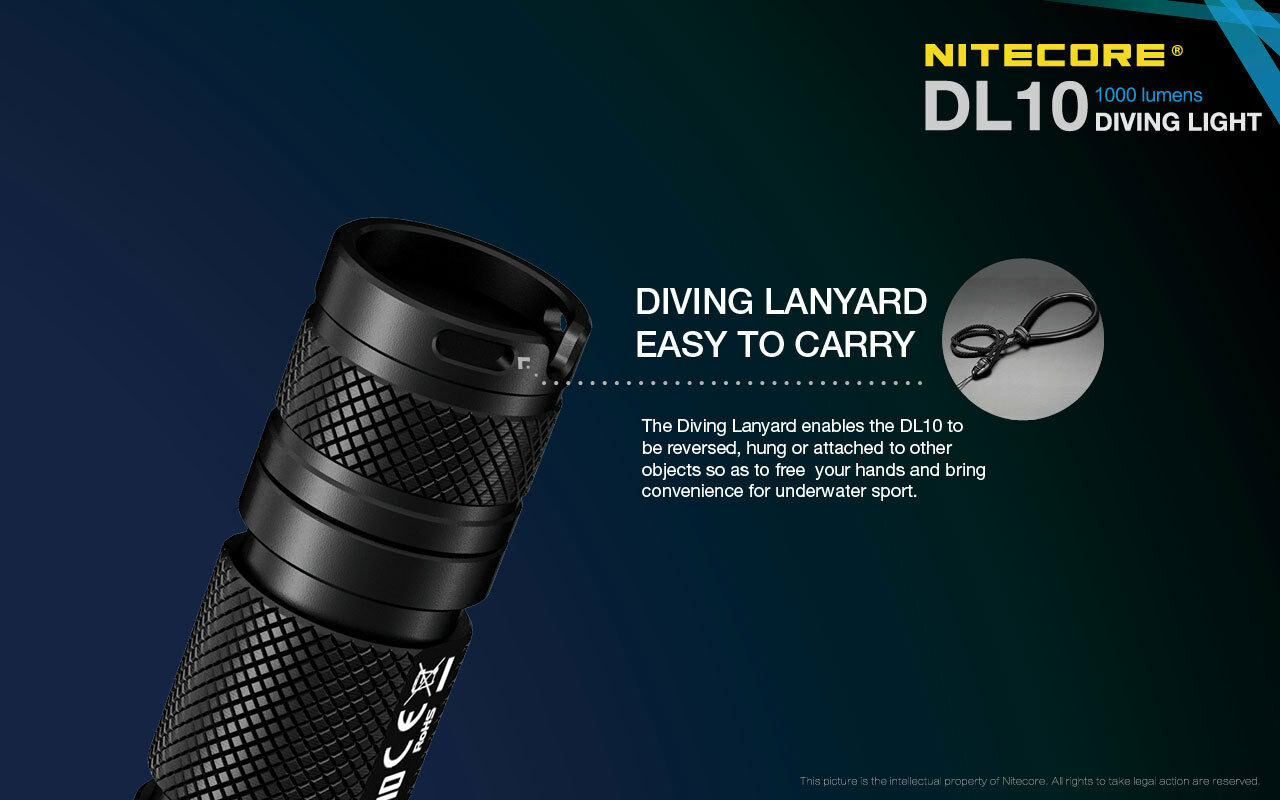 NITECORE DL10 Underwater w/NL1834R Diving Flashlight w/NL1834R Underwater Battery +Free USB Cable e39937