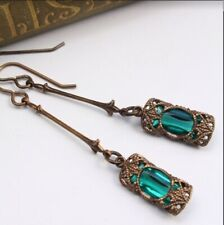 Vintage Women's Emerald & Amethyst Silver Dangle Wedding Earrings Jewelry Gifts
