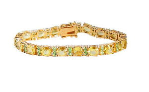 Natural-Green-Tsavorite-amp-Citrin-Tennis-Silver-Bracelet-14k-Yellow-Gold-Over