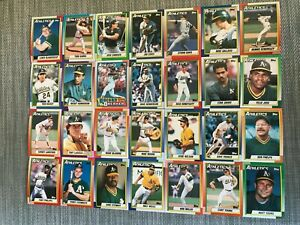 1990-OAKLAND-ATHLETICS-Topps-COMPLETE-Baseball-Team-Set-28-Cards-MCGUIRE-CANSECO
