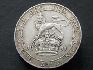 Solid-sterling-silver-vintage-retro-rois-Shilling-George-V-1911-UK-C006