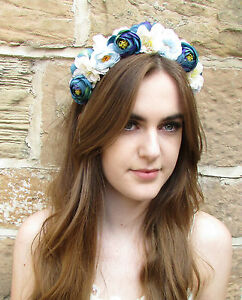 Blue white rose flower headband hair crown lana del rey garland image is loading blue white rose flower headband hair crown lana mightylinksfo