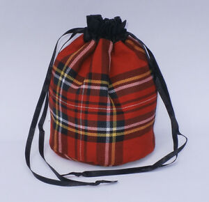 Tartan & Black Satin Dolly Evening Handbag / Purse Wedding Bridesmaid Prom Bag