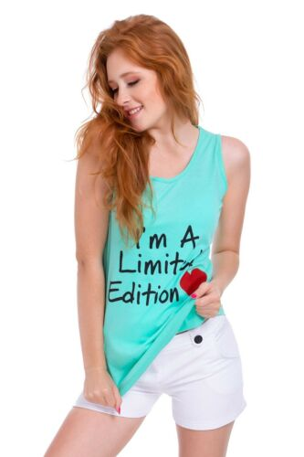 UK Womens Graphic Vest Top Crew Neck Blouse Casual Limited Edition Heart FB318