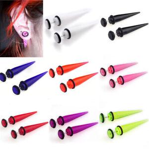 2pcs-Fake-Ear-Plug-Stretcher-Earrings-Gauges-Taper-Spike-Cheater-Stud-Expander