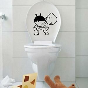 Fancy cartoon boy girl bathroom toilet cover wall decals sticker house decor ebay - Decoration toilette ...