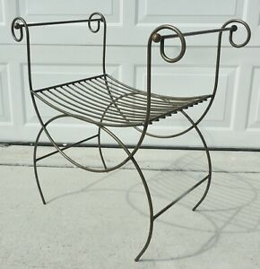 Antique-Vtg-Hollywood-Regency-Mid-Century-Metal-Iron-Vanity-Bench-Chair-Stool