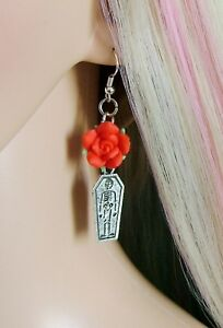 Image Is Loading Red Rose Coffin Earrings Goth Jewellery Sterling Silver
