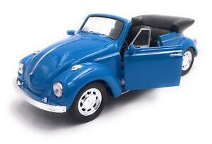 VW-Maggiolino-Cabrio-Modellino-Auto-Auto-Licenza-Prodotto-1-3-4-1-3-9-Blu-Bianco