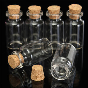 "6 x 2"" 50mm Small Mini Glass Jars Corks Wedding Favours Craft Art Vial Bottle"