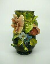 Antique 1880s Standard Glaze American Art Pottery Vase Applied Flowers Barbotine