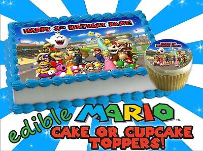 Tremendous Super Mario Bros Birthday Cake Topper Edible Sugar Decal Transfer Funny Birthday Cards Online Bapapcheapnameinfo