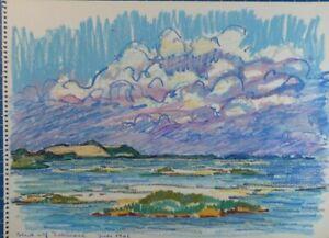 Rolf Janssen Wilhelmshaven Chalk Drawing Titled Dated July 1962 O-2164