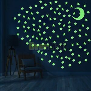 Glow-in-the-Dark-Stars-w-Big-8cm-Moon-Luminous-Wall-Decal-Stickers-Room-decor