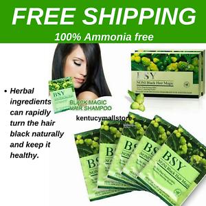 Details about BSY Noni Black Hair Magic Grey Hair Color Dye Shampoo Natural  Herbal 20 pax/1box