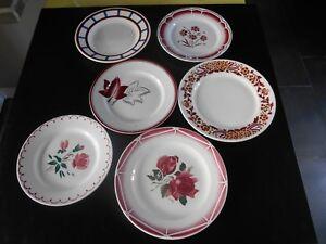6-Anciennes-assiettes-dessert-Digoin-Sarreguemines-Badonviller-HBCM