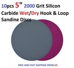 "10pcs 5/"" 2000 Grit Silicon Carbide Wet//Dry Hook /& Loop Sanding Discs"
