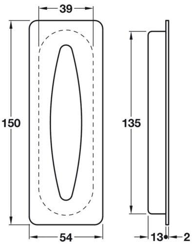 Sliding Doors Flush Pull Handle 50x75//54mm Stylish Satin Stainless Steel 304