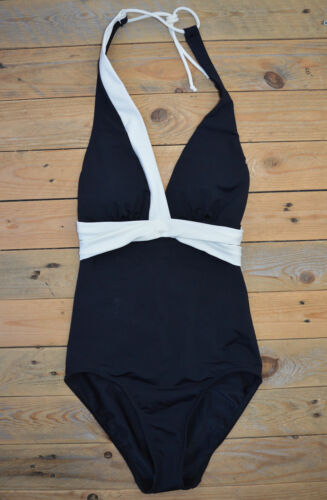 Body-shaping Front Bow Support Halter Swimsuit Costume Swimming Black White Blue