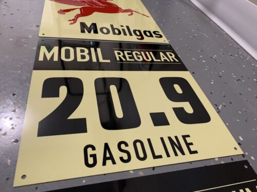 Mobilgas Mobiloil Gasoline Mobil Oil 3 piece vintage Style Sign Gas Station