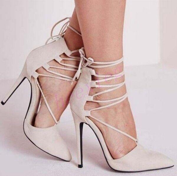 Womens Roman Roman Roman Gladiator Stiletto High Heel Sexy shoes Lace Up Suede Pointy Toe Sz fca4c3