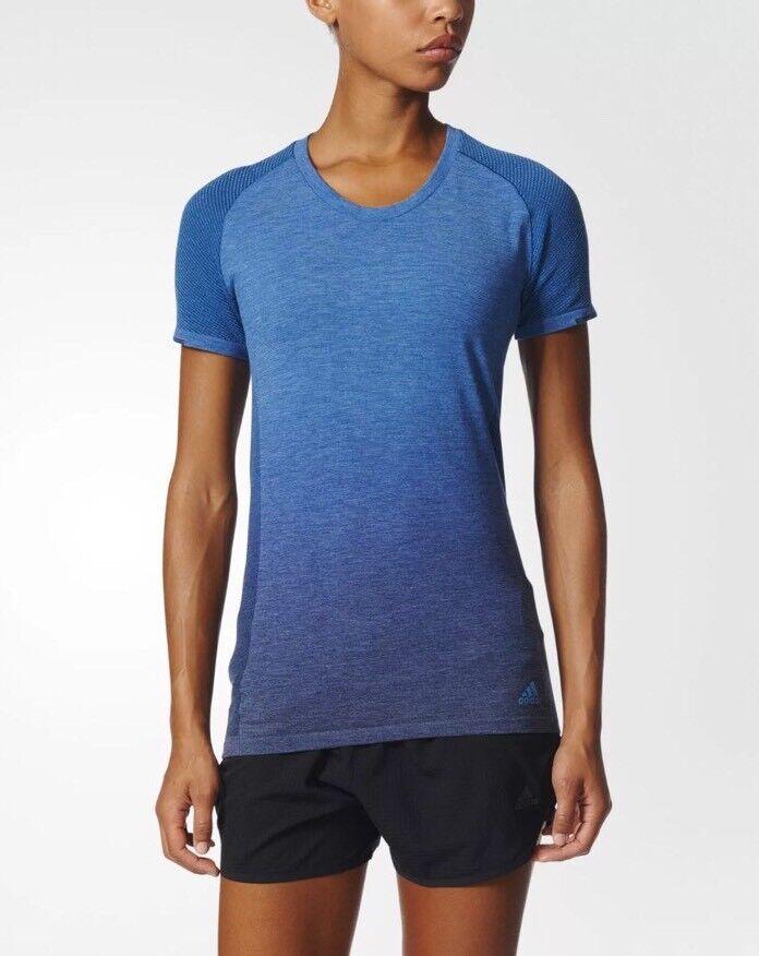 80 NWT Adidas Pknit Tee DD W Womens Running Shirt blueeeeeeeee Sz LARGE AZ2896