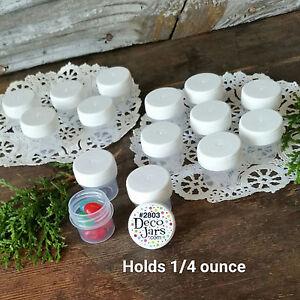100-Vial-WHITE-Cap-Tiny-Pot-JAR-Bottle-1-4oz-container-Powder-2803-USA-cosmetic