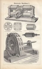 1899 * Elektrische Maschinen * 3 Original Drucke / Antique Prints