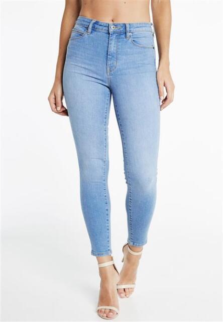 Brand New Bardot Khloe Super High Blue Denim Jeans Size 12 Oxide Blue RRP$139.99
